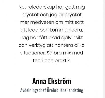 Neuroledarskap Anna Ekström