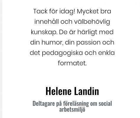 Social arbetsmiljö Helene Landin
